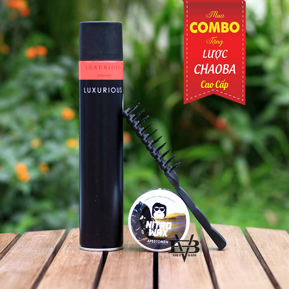 COMBO Sáp vuốt tóc Apestomen Nitro Wax Singapore 80ml + Gôm Xịt Tóc LUXURIOUS 320ml