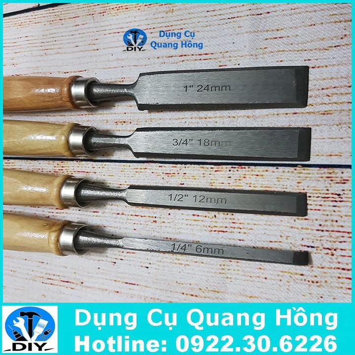 Bộ 4 mũi đục gỗ, khắc gỗ, tiện gỗ đa năng - dao đục gỗ cầm tay 6-24mm