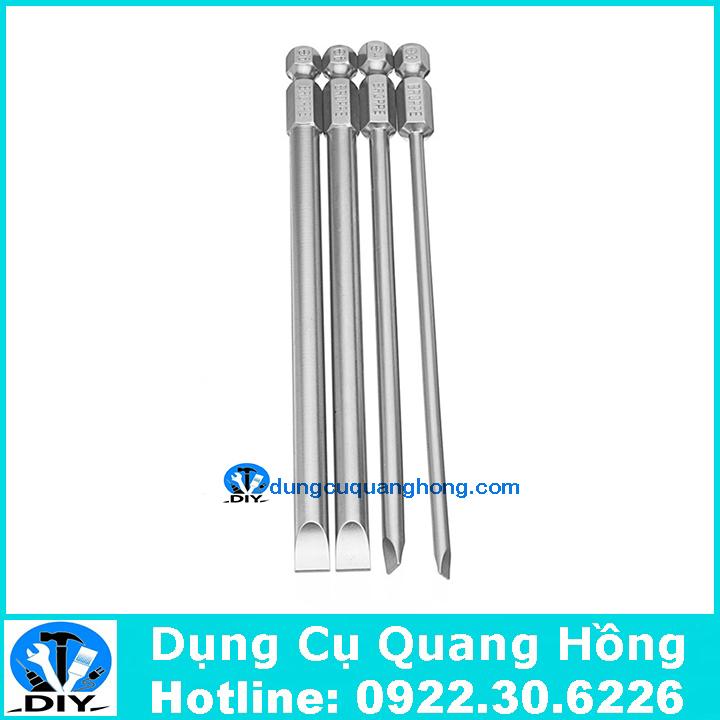 Bộ 4 mũi tô vít 2 cạnh dài 150mm chuôi lục giác cho khoan pin và khoan điện