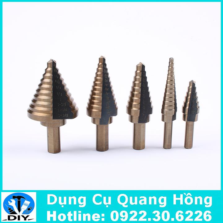Bộ 5 mũi khoan bước, tháp HSS 4 - 35mm khoan kim loại,thép,sắt,nhôm,gỗ