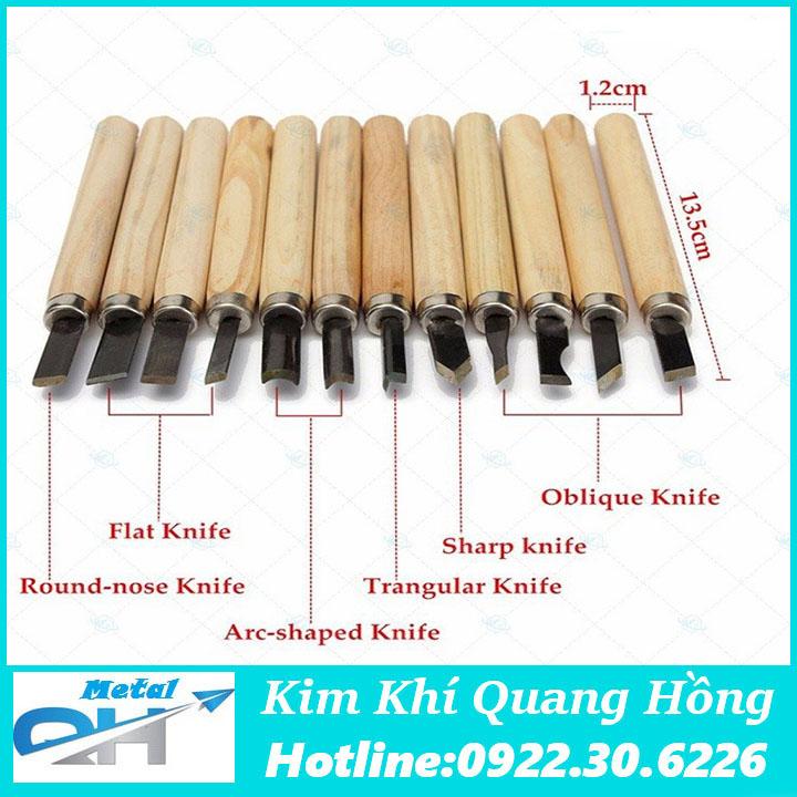 Bộ dao khắc đục tiện gỗ 12 món