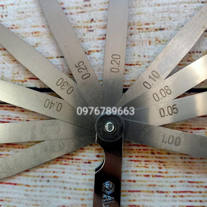 Thước căn lá, thước nhét, thước đo khe hở 14 lá 0.05-1.00mm Asaki