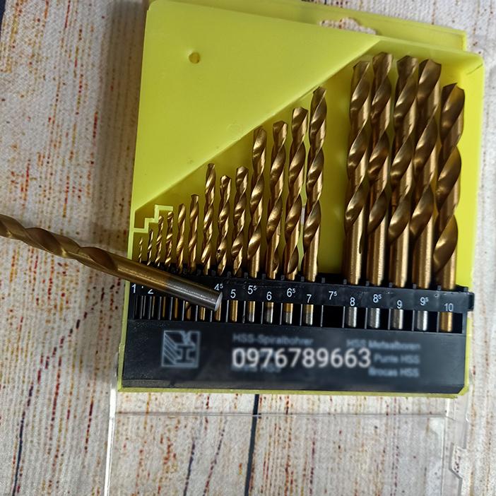 Bộ 19 mũi khoan sắt 1.5-10mm HSS thép Titan không gỉ chuôi tròn ( Vàng )