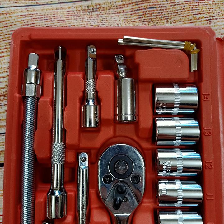 Bộ dụng cụ đa năng mở bu lông ốc vít, bộ dụng cụ sửa chữa ô tô xe máy 46 chi tiết