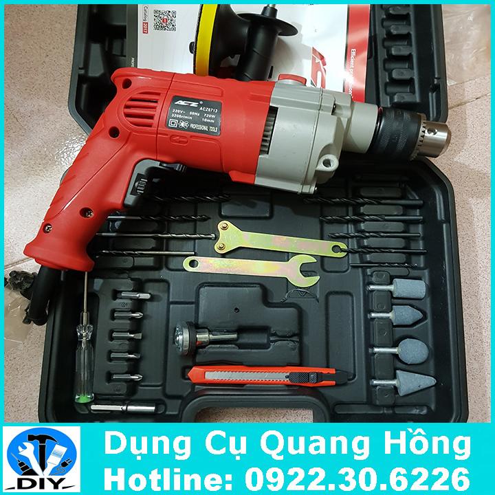 Máy khoan cầm tay ACZ-6713 bộ đầy đủ phụ kiện khoan và cắt đa năng