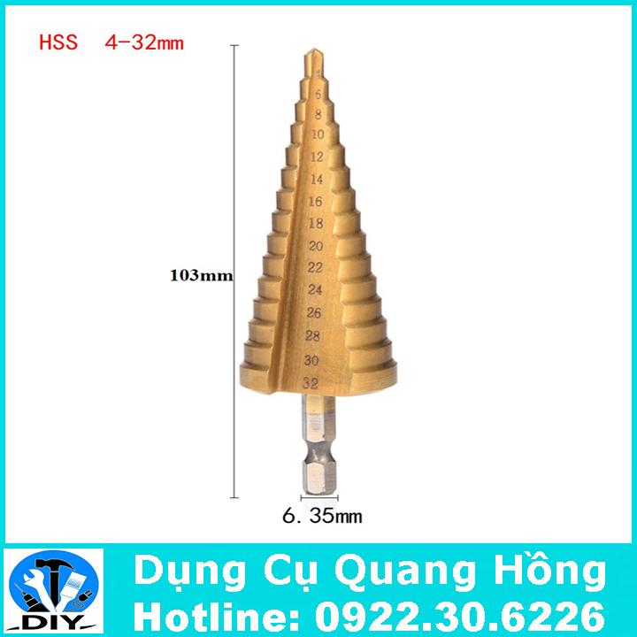 Mũi khoan tháp, bước HSS 4241 4-32mm khoan sắt nhôm tôn chuôi lục giác 6.35mm