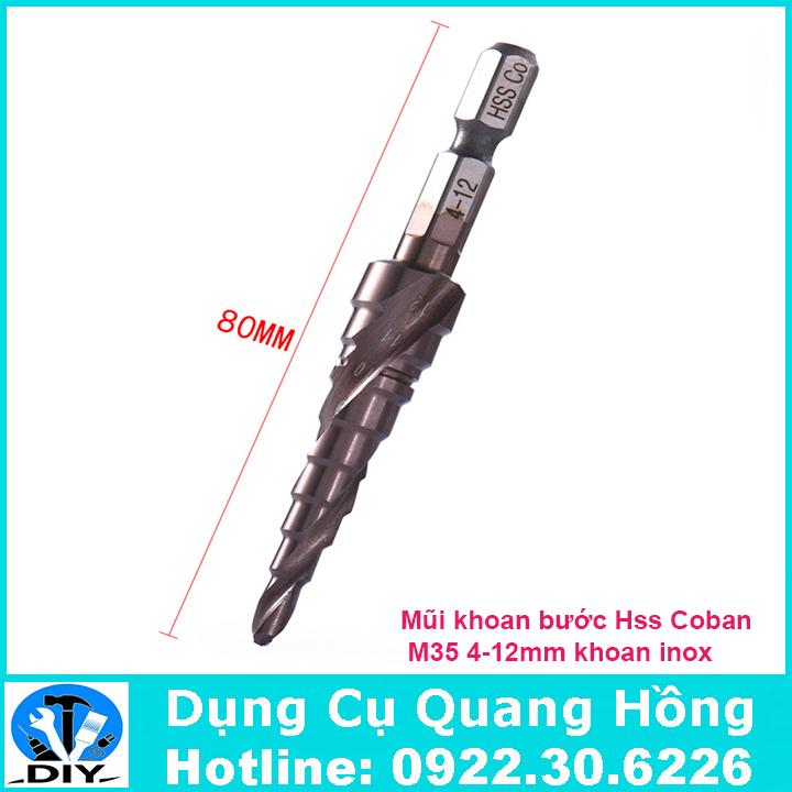 Mũi khoan bước, tháp HSS Coban M35 4-12mm khoan inox, thép, sắt, nhôm