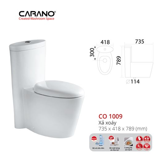 BỒN CẦU CARANO 1 KHỐI CO1009/C09( Toilet model:CO1009/C09)