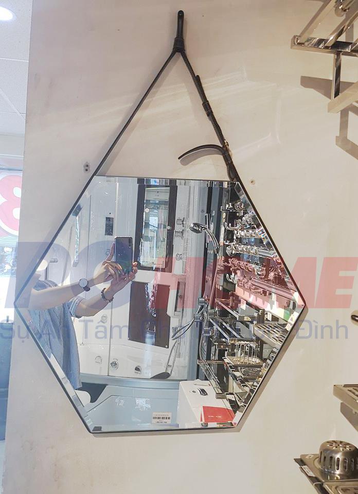Gương đèn led lục giác dây da - MODEL 20013