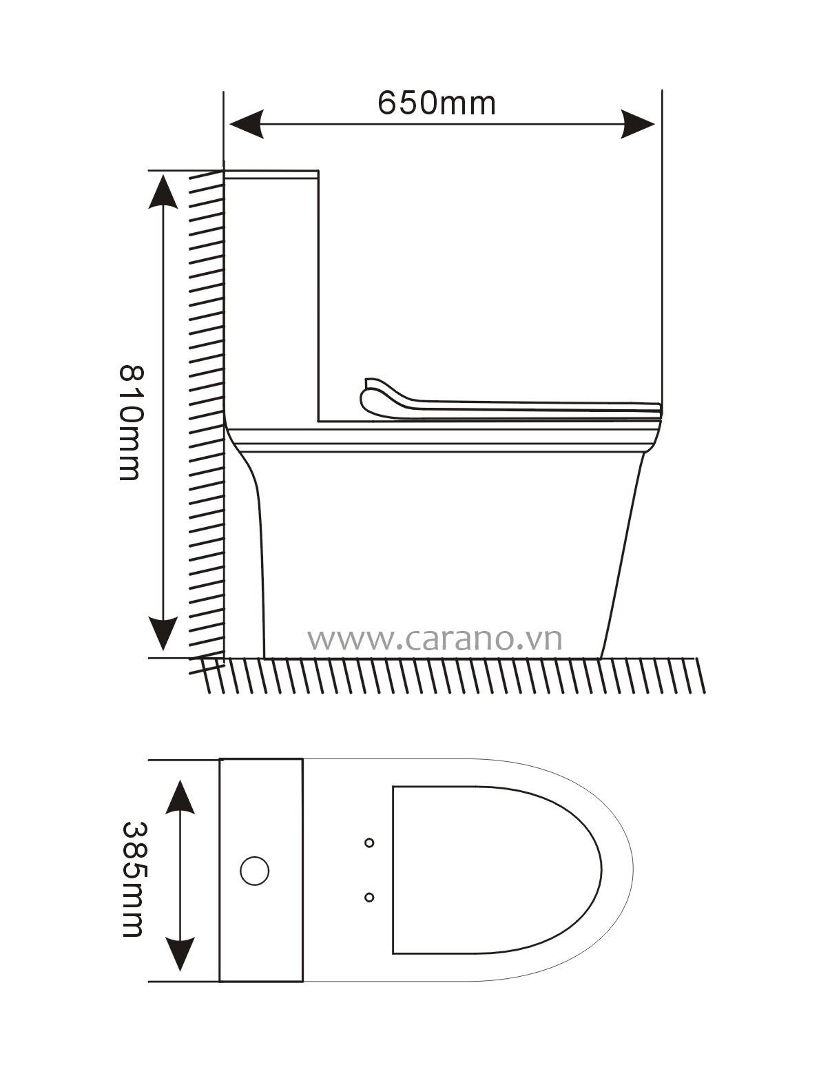 BỒN CẦU CARANO 1 KHỐI K21AS65MD (TOILET MODEL: K21AS65MD)