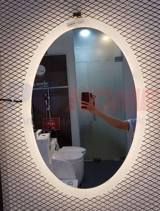 Gương đèn led oval vành ngoài ánh sáng vàng - MODEL 20027