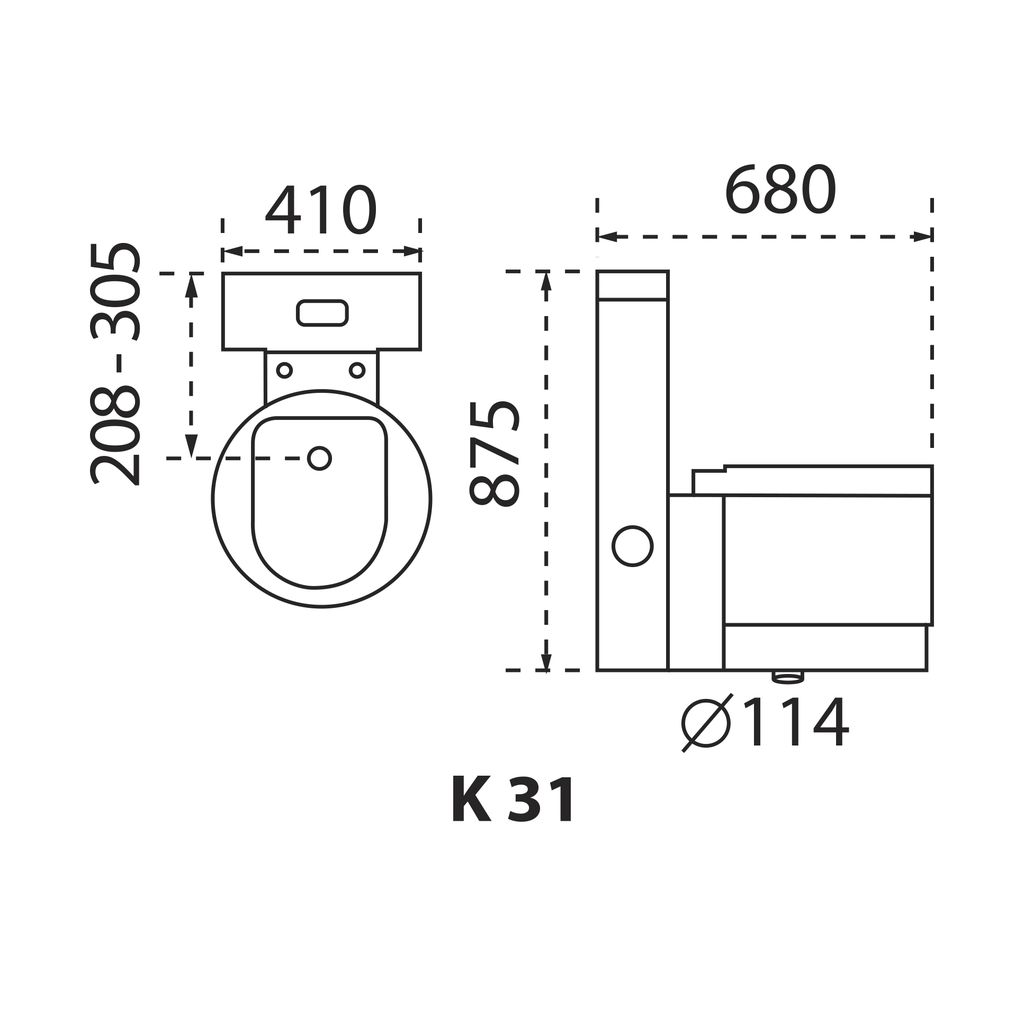 BỒN CẦU CARANO 1 KHỐI K31 ( Toilet model: K31 )