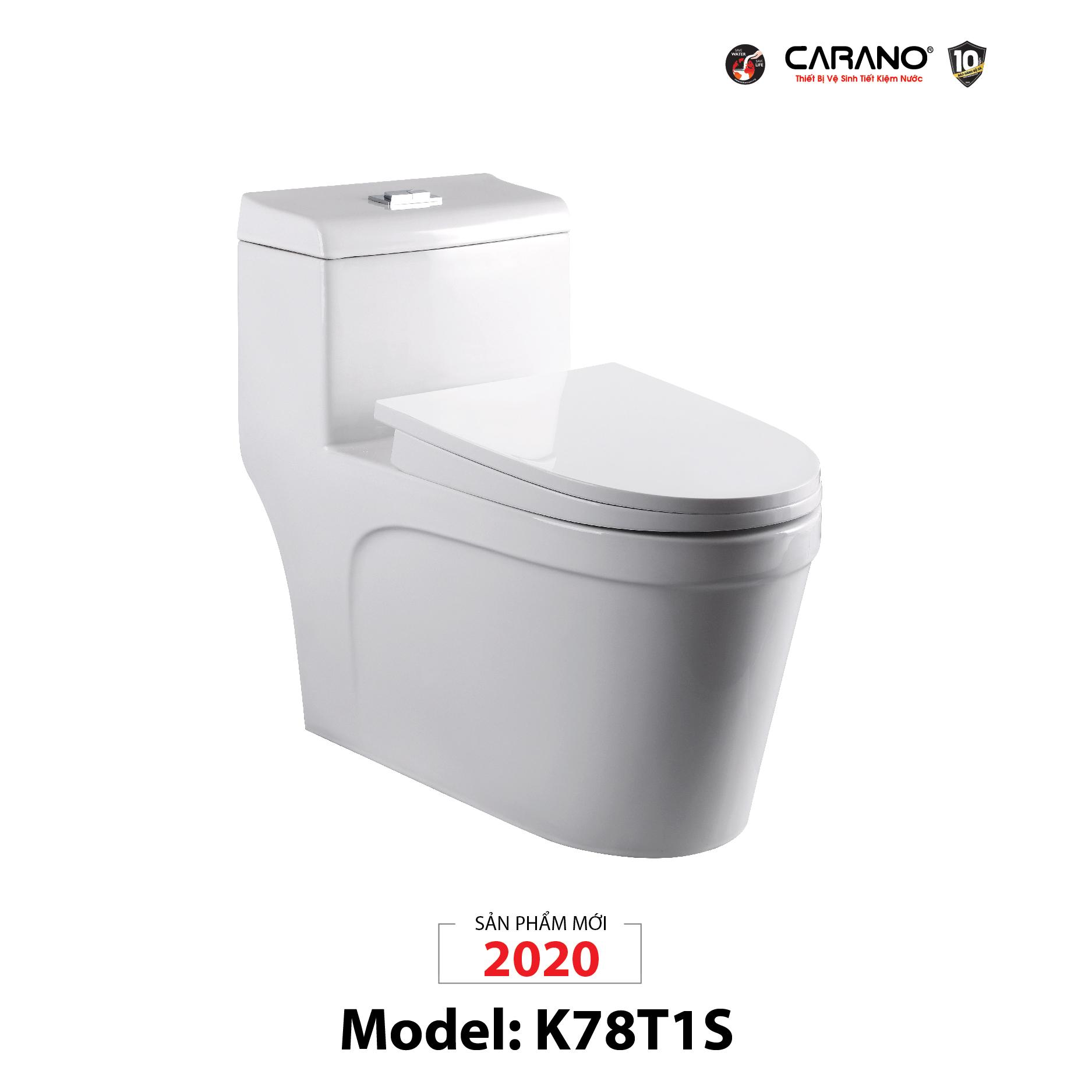 BỒN CẦU CARANO 1 KHỐI K78T1S (TOILET MODEL: K78T1S)