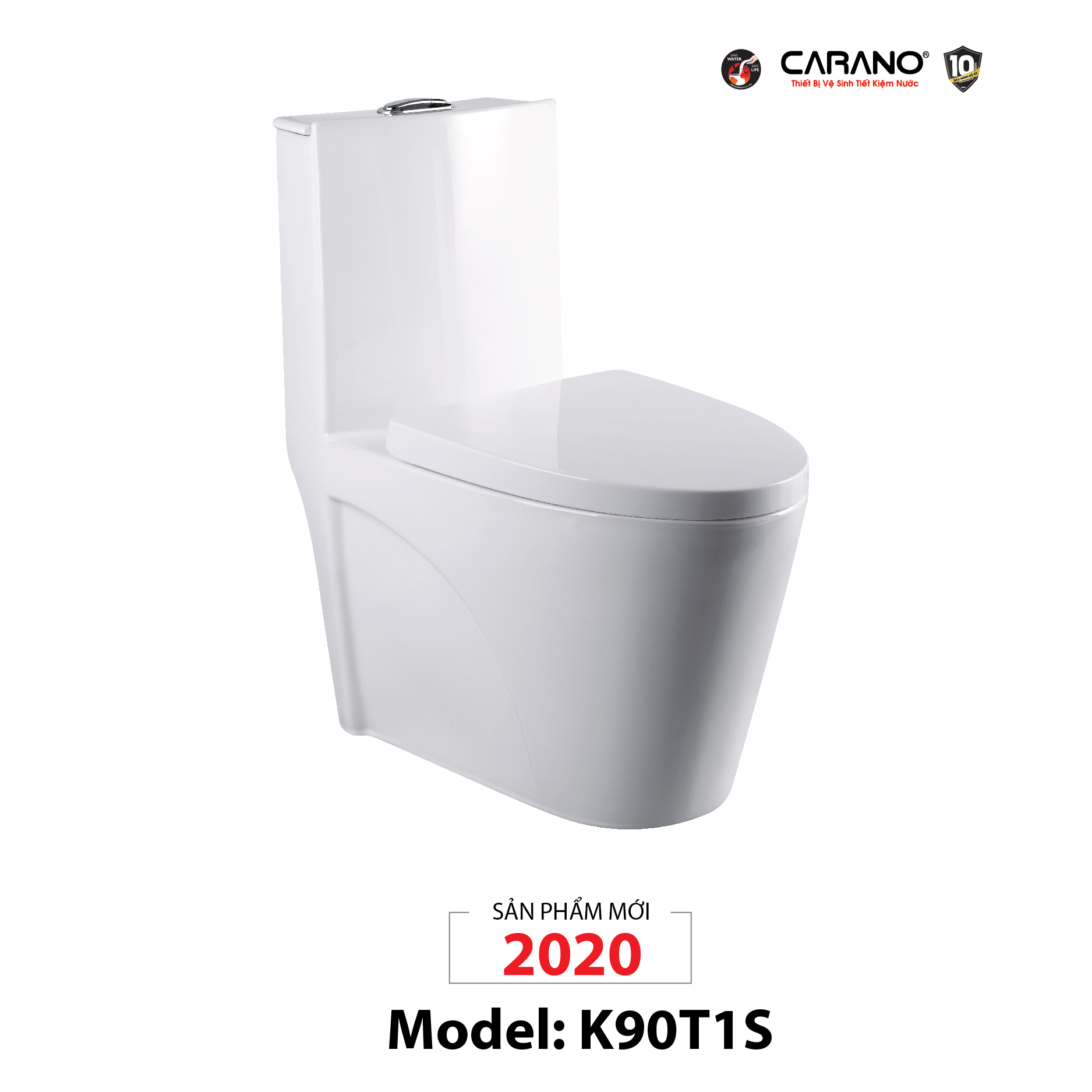 BỒN CẦU CARANO 1 KHỐI K90T1S (TOILET MODEL: K90T1S)
