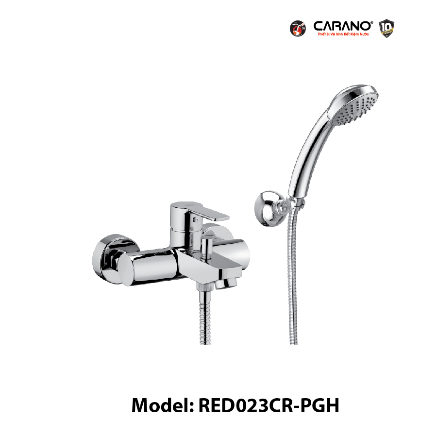 VÒI TẮM BỘ SEN GẮN TƯỜNG CARANO MODEL RED023CR-PGH