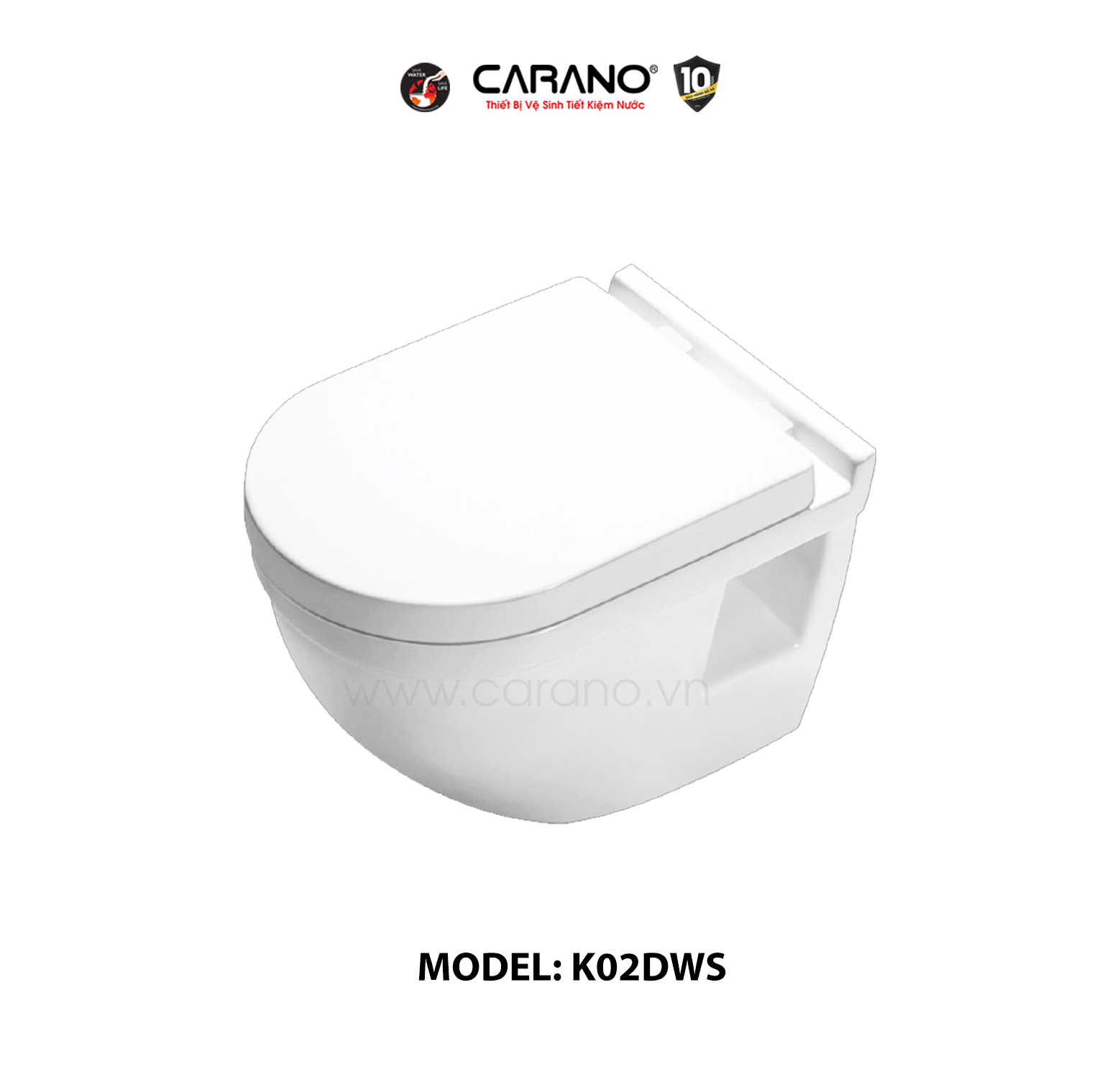 TOILET TREO TƯỜNG CARANO MODEL K02DWS