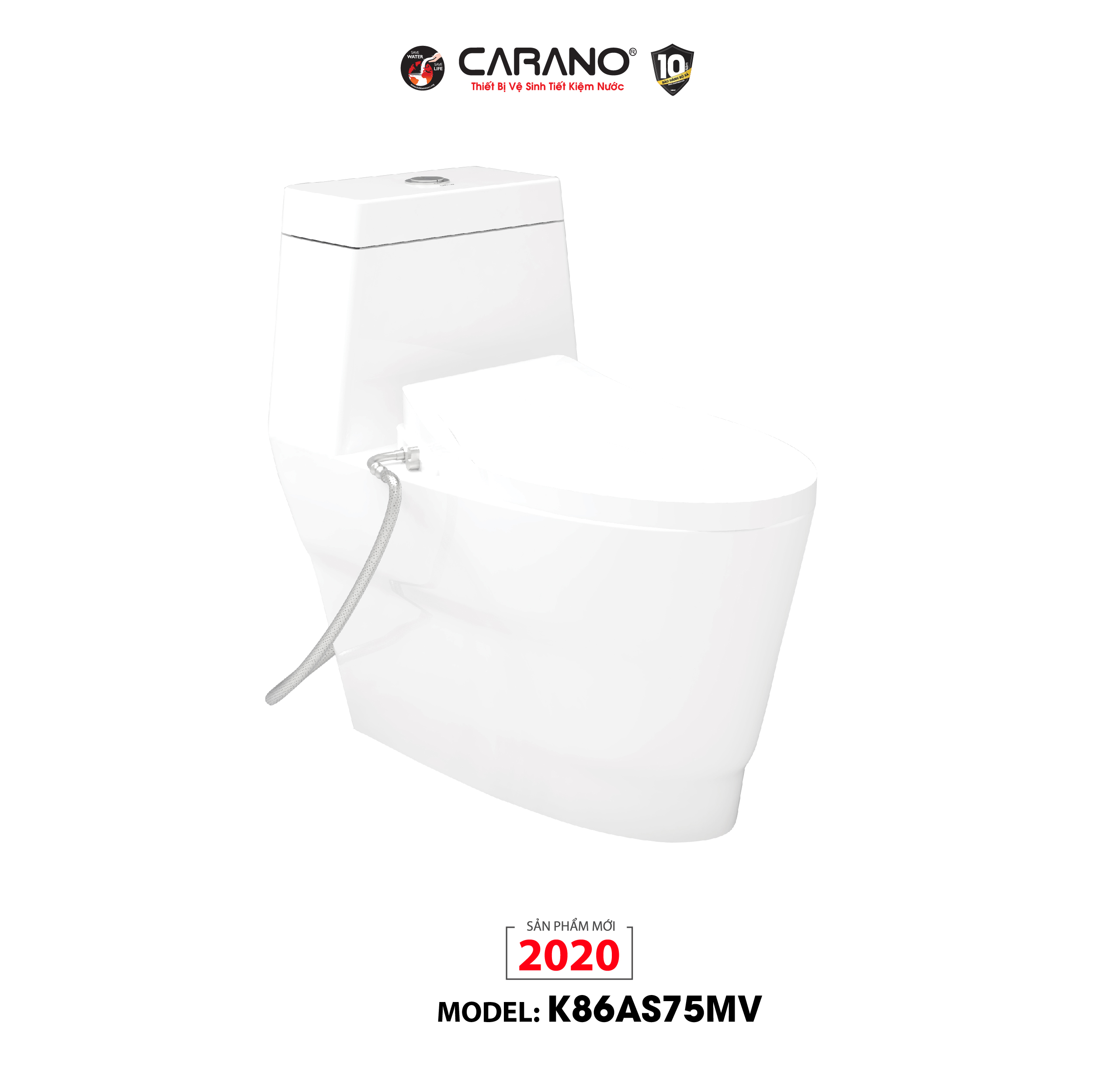 BỒN CẦU CARANO 1 KHỐI K86AS75MV (TOILET MODEL: K86AS75MV)