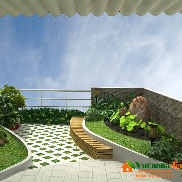Mẫu vườn sân thượng nhà phố