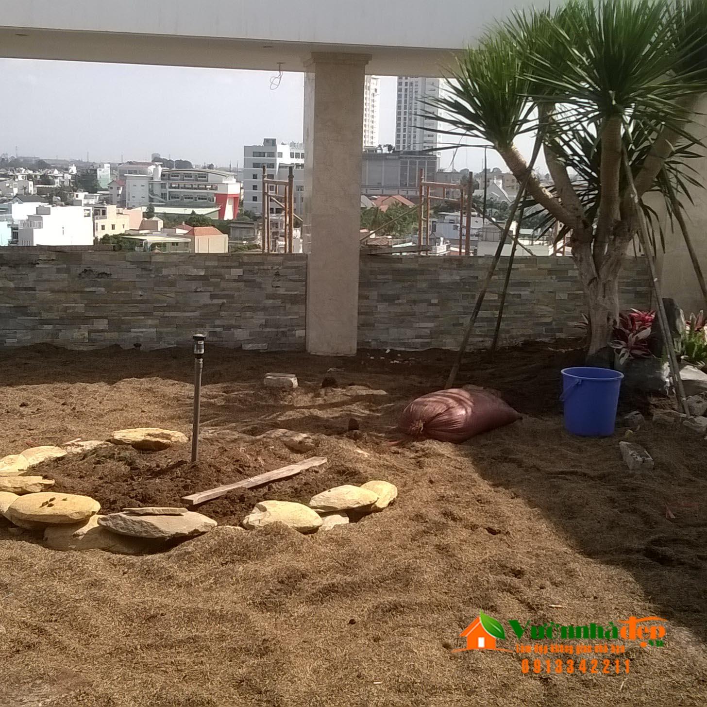 Đổ đất trồng cây sân thượng