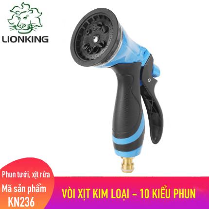 Vòi phun tưới LionKing KN236 - Vòi Xịt Nước Làm Bằng Chất Liệu Kim Loại Có 10 Kiểu Phun