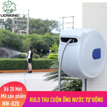Bộ vòi tưới cây, rửa xe LionKing 20 mét NW-B20 (PHIÊN BẢN THƯỜNG). Rulo thu cuộn ống nước tự động.  Tặng thêm 1 vòi phun đa năng 5 kiểu phun