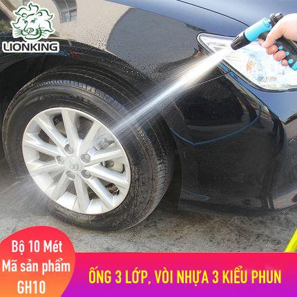 Bộ vòi rửa xe, tưới cây LionKing 10 mét GH10 - ống 3 lớp, vòi xịt bằng nhựa 3 kiểu phun