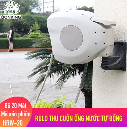 Bộ vòi tưới cây, rửa xe LionKing 20 mét HRW-20 (PHIÊN BẢN CAO CẤP). Rulo thu cuộn ống nước tự động. Tặng thêm 1 vòi phun đa năng 5 kiểu phun