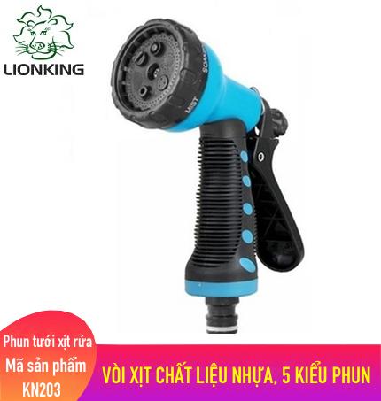 Vòi tưới cây rửa xe LionKing KN203 - vòi xịt nước làm bằng chất liệu nhựa có 5 kiểu phun