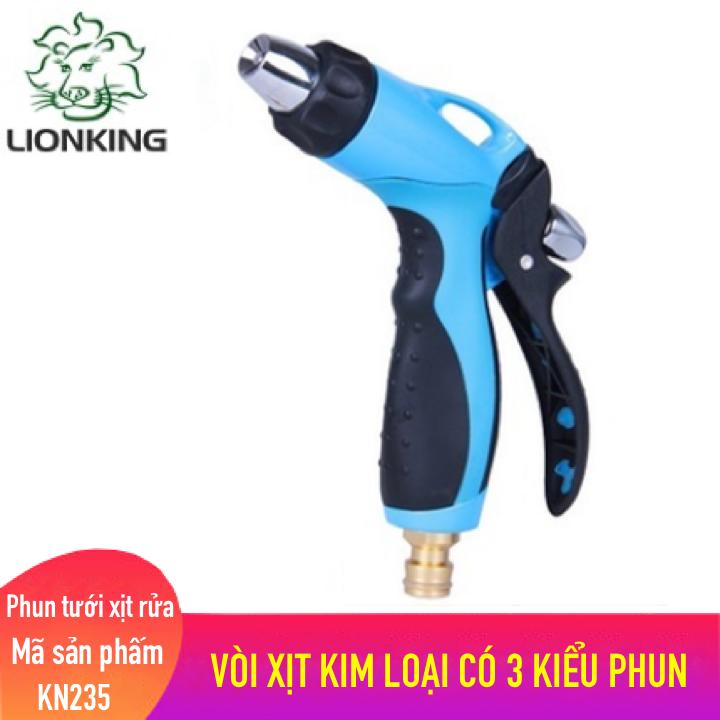 Vòi tưới cây rửa xe LionKing KN235, vòi xịt nước làm bằng chất liệu kim loại có 3 kiểu phun