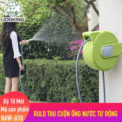 Bộ vòi tưới cây Mini 10 mét LionKing NAW-A10. Rulo thu cuộn ống nước tự động.  Tặng thêm 1 vòi phun đa năng 5 kiểu phun