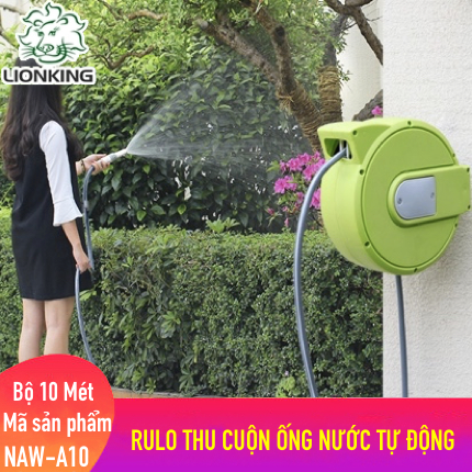 Bộ vòi tưới cây 10 mét LionKing NAW-A10 (PHIÊN BẢN Mini). Rulo thu cuộn ống nước tự động
