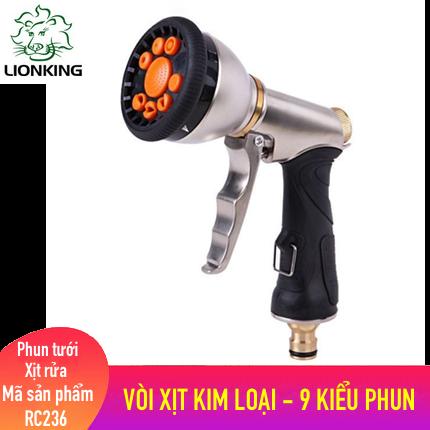 Vòi tưới cây, rửa xe LionKing RC236 - vòi xịt nước làm bằng chất liệu kim loại có 9 kiểu phun