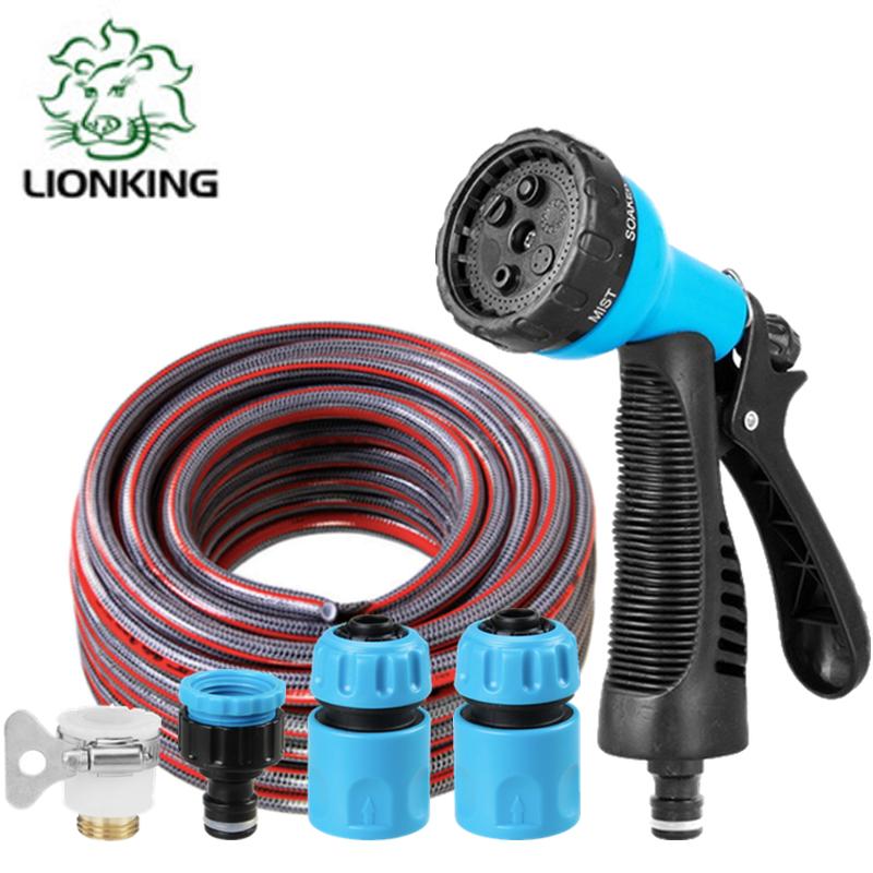 Bộ vòi tưới cây, rửa xe LionKing - ống 5 lớp, vòi xịt bằng nhựa 5 kiểu phun