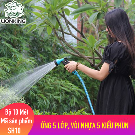 Bộ vòi tưới cây, rửa xe LionKing 10 mét SH10 - ống 5 lớp, vòi xịt bằng nhựa 5 kiểu phun