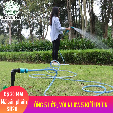 Bộ vòi tưới cây, rửa xe LionKing 20 mét SH20 - ống 5 lớp, vòi xịt bằng nhựa 5 kiểu phun