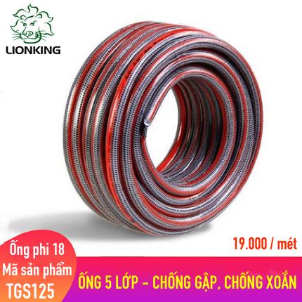 Ống nước LionKing TGS125 - phi 18  kết cấu 5 lớp chống gập, chống xoắn