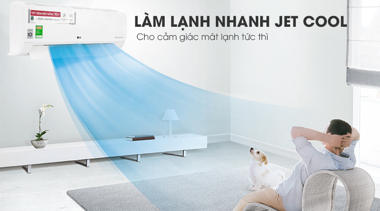 Điều hòa LG 9000BTU 1 chiều inverter V10ENWV-tính năng làm lạnh nhanh Jet Cool