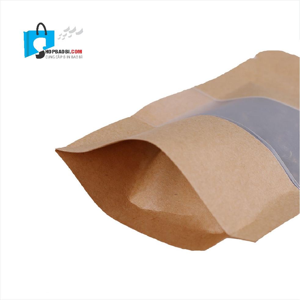 Túi zipper giấy kraft có cửa sổ đáy đứng ovan