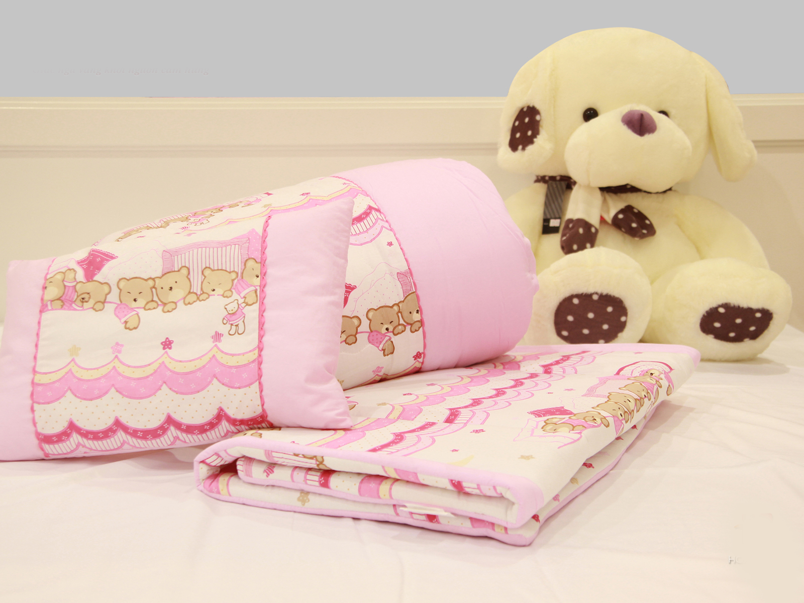 Bộ chăn ga gối Baby - Teddy (Hồng)