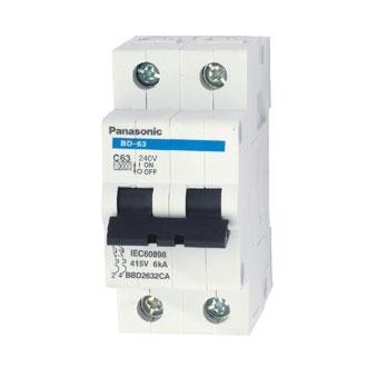 MCB Panasonic 2 tép 50A - 63A ( Cầu dao tự động Panasonic 2 tép chống quá tải 50A-63A )