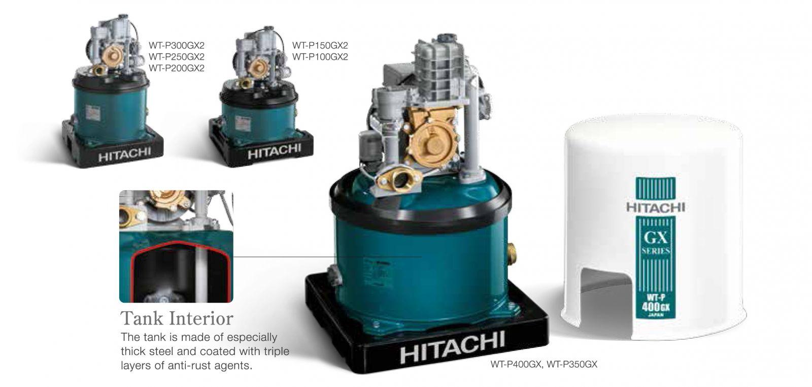 Máy bơm nước Hitachi WT-P350GX2-SPV ( Máy bơm nước tự động Hitachi 350W dạng tròn )