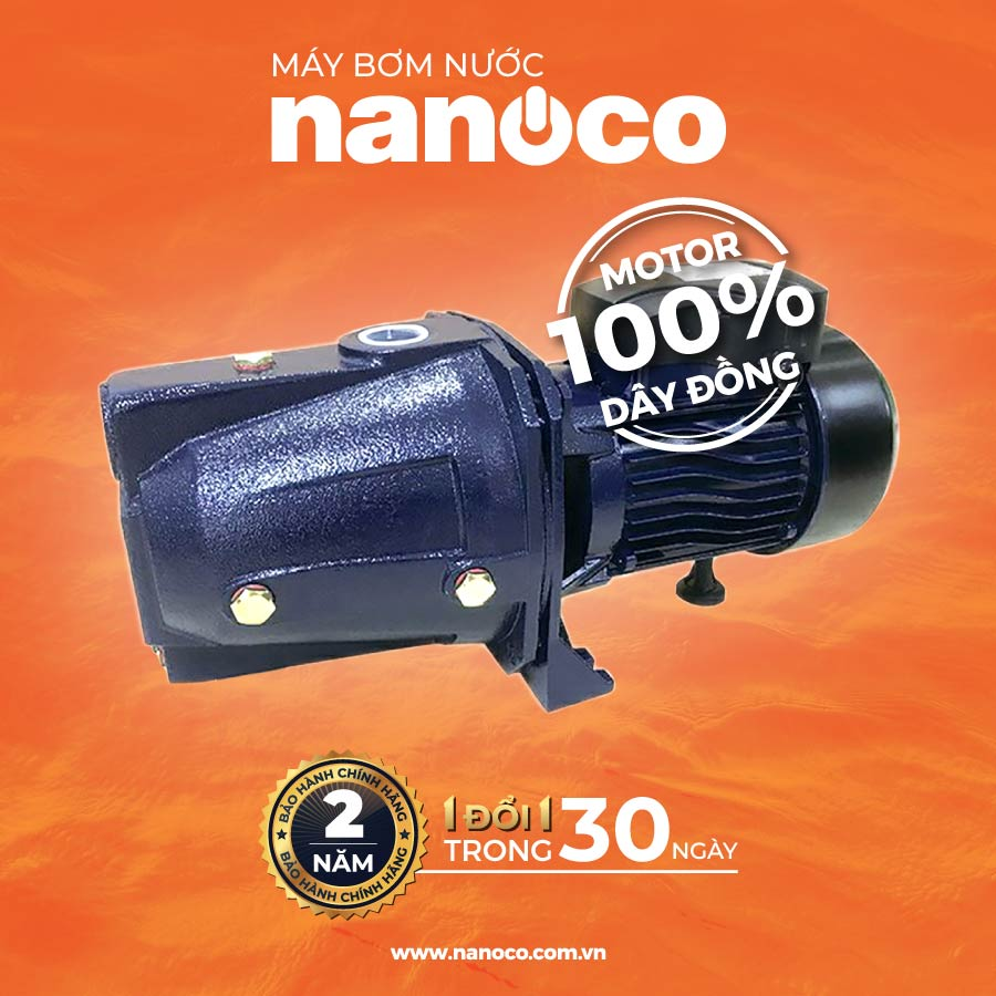 Máy bơm nước hút sâu đẩy cao NJET750 ( Máy bơm nước đầu jet Nanoco NJET750 1HP )