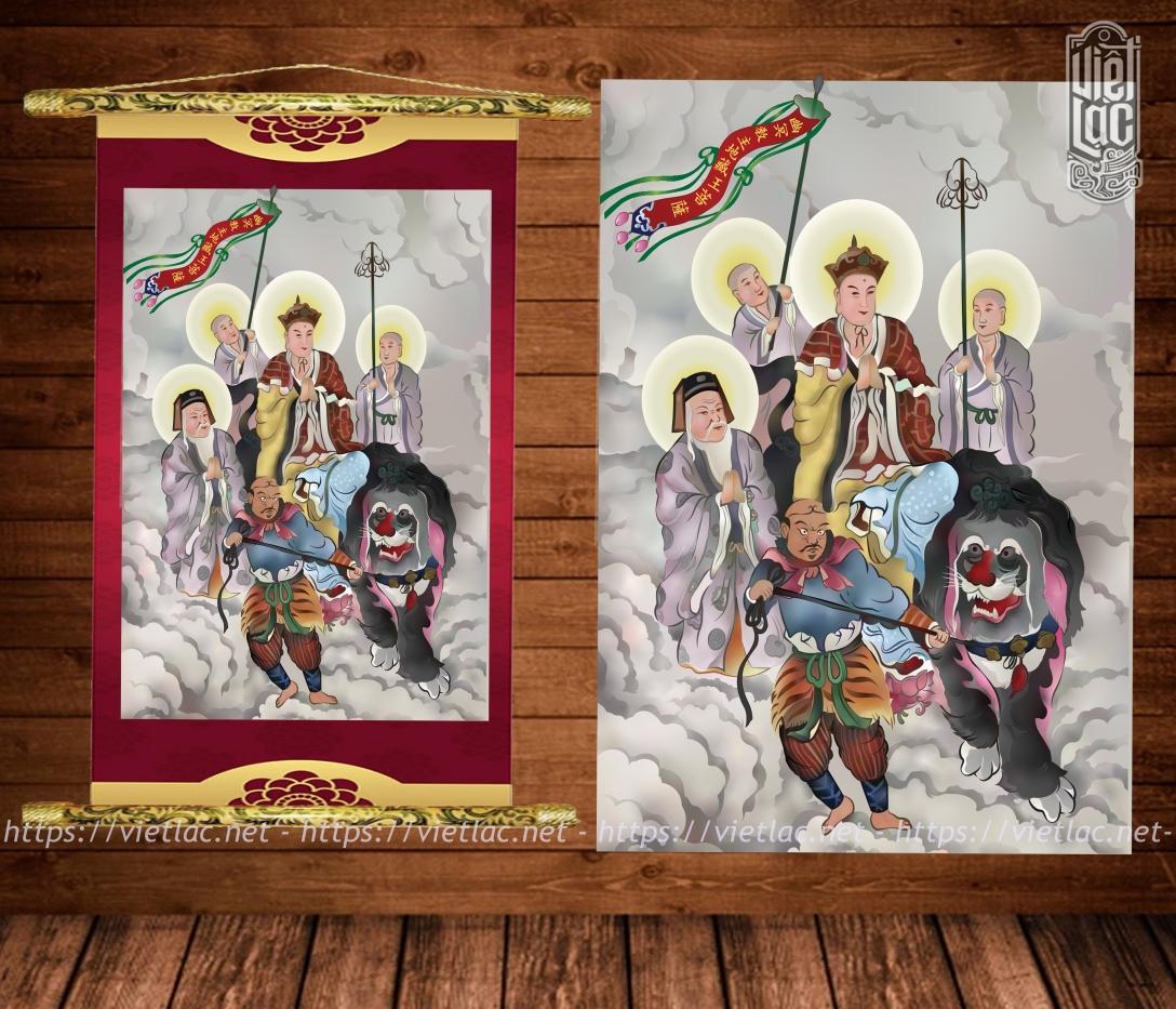 Tranh U Minh Giáo Chủ Địa Tạng Vương Bồ Tát Chất Liệu Canvas