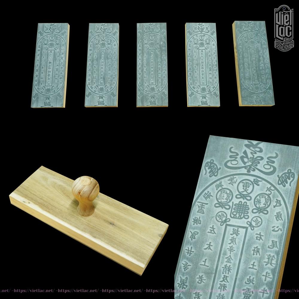Phù yếm đất ( Bộ 5 cái ) 7x20 cm gỗ mặt cao su
