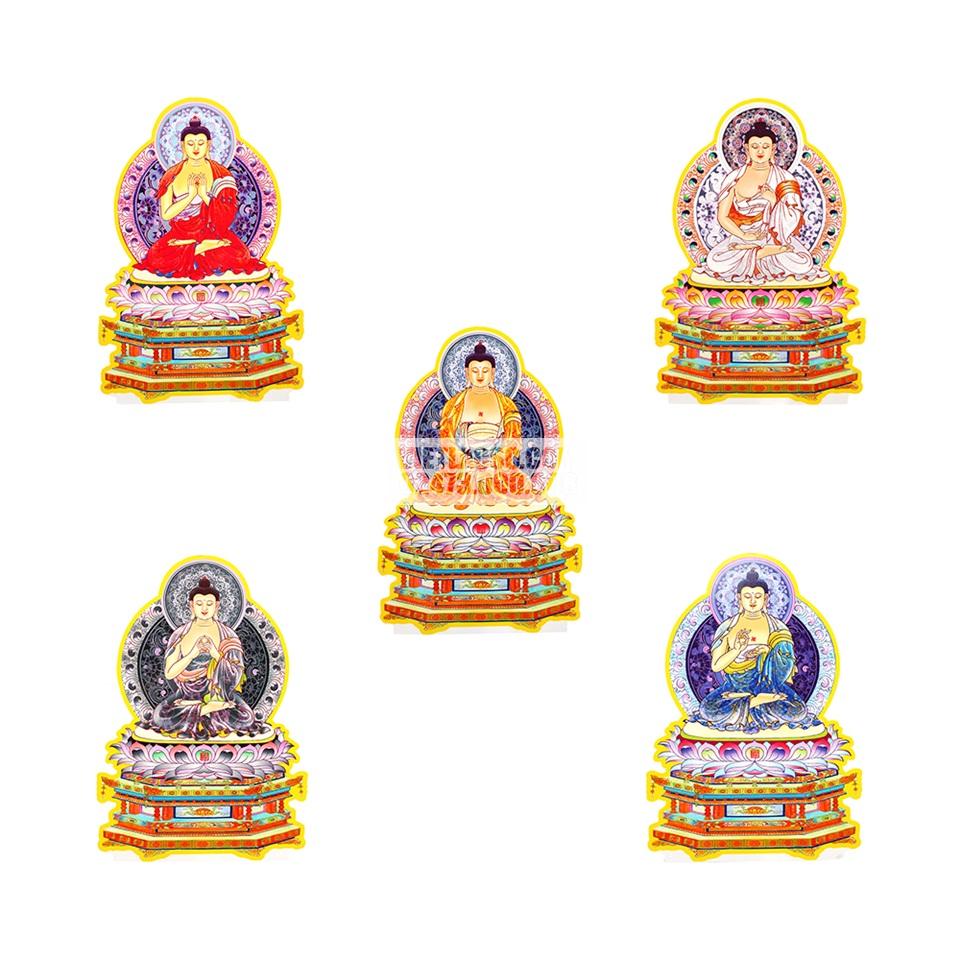 Bộ tranh Ngũ Phương Phật chất liệu bìa cứng ép plastic