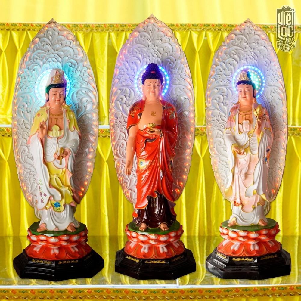 Bộ Tượng Tây Phương Tam Thánh Đứng Bằng Composite, Cao 135cm, Vẽ Màu (có lá đề đèn led)