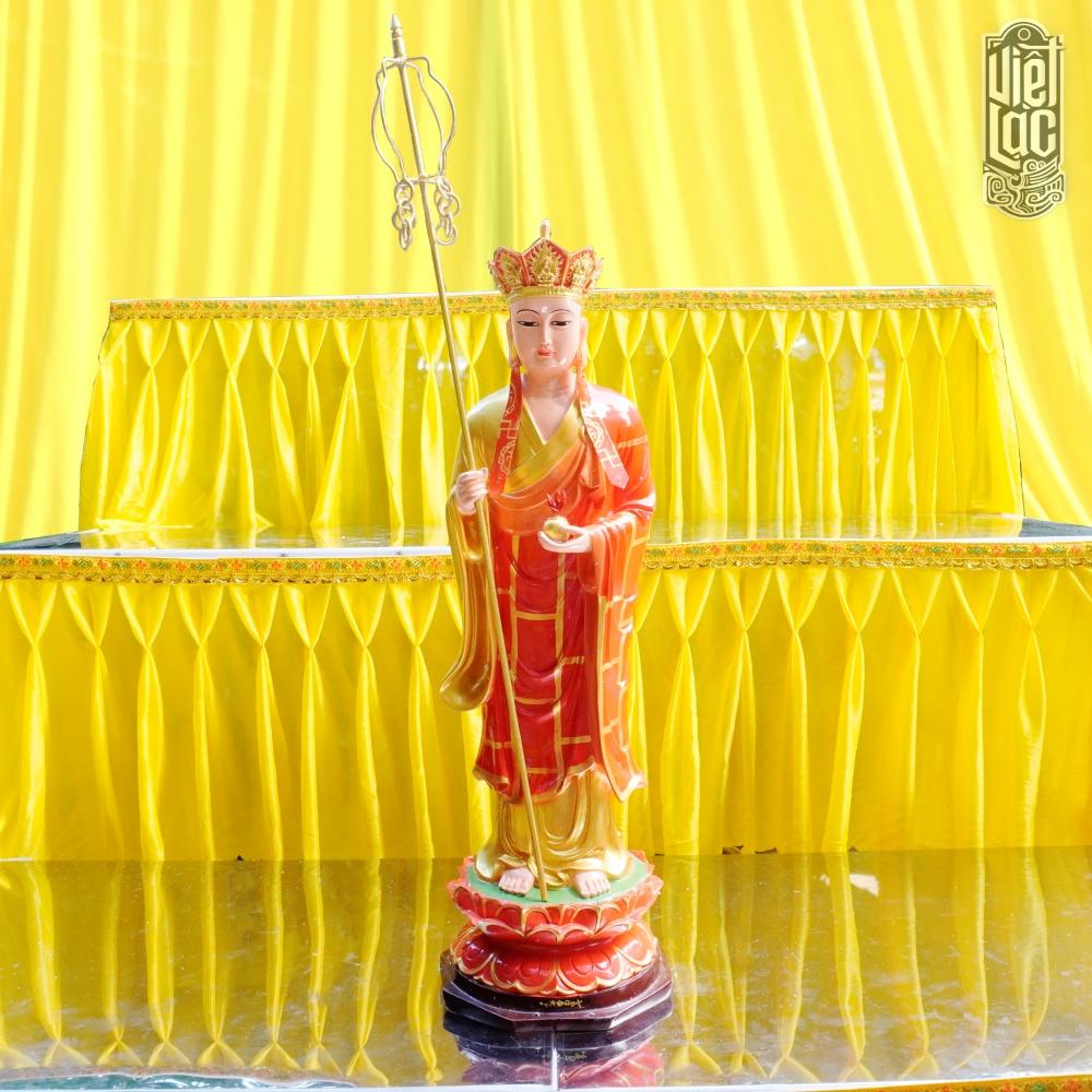 Tượng Địa Tạng Vương Bồ Tát Đứng Bằng Composite, Cao 70cm, Sơn Màu Cao Cấp