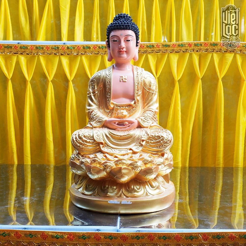 Tượng Phật A Di Đà Tọa Sen Bằng Composite, Cao 50cm, Sơn Vàng