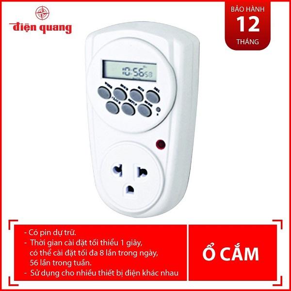 Ổ cắm hẹn giờ Điện Quang ĐQ ESK DT08 W 13