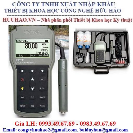 Máy đo EC/TSD/Điện trở suất/ Độ mặn Hanna HI98192